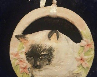 Siamese cat porcelain ornament