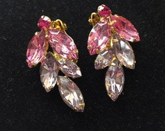 Vintage Multi Colored Pink Rhinestone Clip On Earrings 1960's