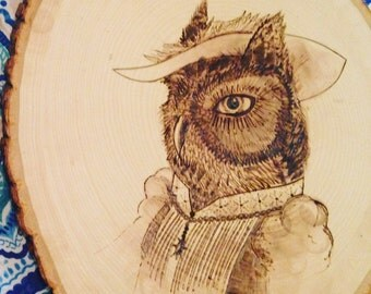 Victorian Screech Owl, Wood burn