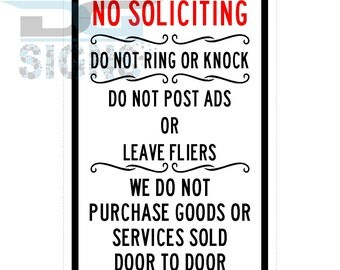 No Soliciting Do Not Ring Or Knock - Keep Salesmen Away - aluminum sign 8x12
