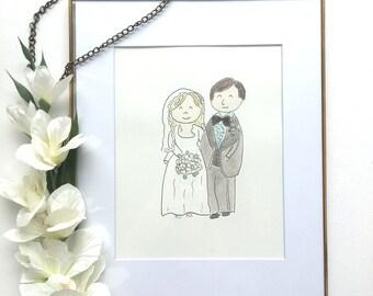 Custom Portrait - Anniversary Present - Wedding Present - Anniversary Portrait - Wedding Portrait - Wedding Gift - Watercolor Portrait