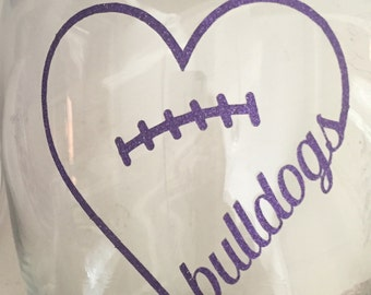 Heart football with cursive bulldog