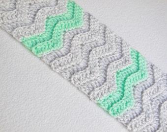 Heather Grey-Mint Green Chevron Crochet Scarf / Grey-Mint Green Double Crochet Stitched Neck Warmer / Long Chevron Scarf