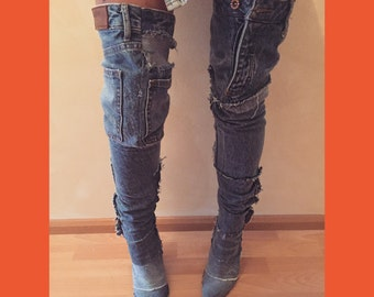 Over The Knee Denim Boots