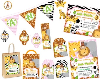 Print Kit Animals Forest, Jungle, first birthday, Baby Shower Candy Bar