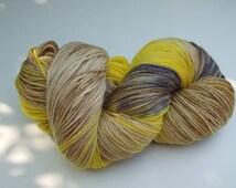 """Hand Dyed Yarn, 100g, Superwash Merino/Cashmere/Nylon Sock Weight, """"Little Bee"""" OOAK"""