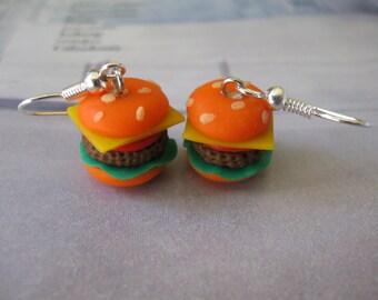 Earrings Hamburgers Polymer clay