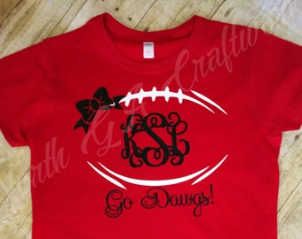 Ladies Football Shirt UGA University of Georgia Game Day T-shirt Go Dawgs Personalized with Monogram