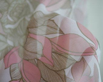Printed scarf with olive green and pink flower, great gift