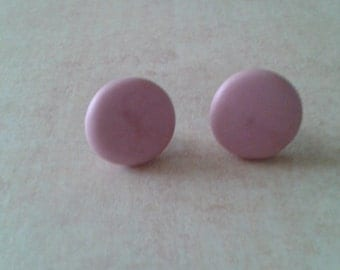 Pink Pearl Polymer Clay Studs
