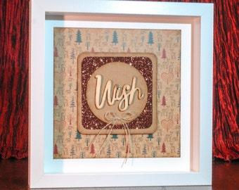 Box Frame - Christmas Theme - Mounted 'Wish'