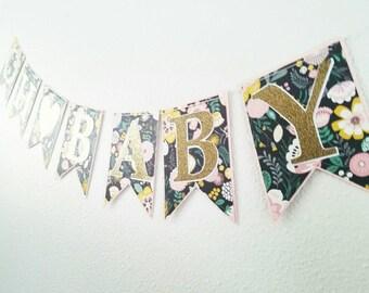 Baby banner,  babyshower banner,floral babyshower banner, oh baby banner