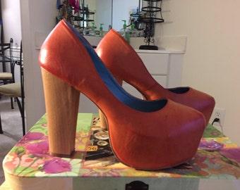 Orange leather platform heels