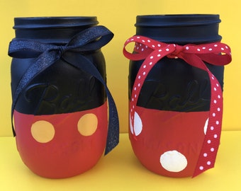 Mickey and Minnie Mouse Mason jar - home decor- disney decor - Mickey and Minnie Mouse