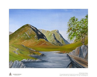 Limited edition giclee print (50), of my oil painting of Three Sisters of Glencoe, Scottish Highlands, Size is 500mm x 400mm, Gift