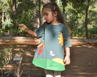 Birdhouse Dress – Applique birdhouse, Applique Dress, Toddler Dress or Girl's Dress- Choose Dress Color and Sleeve Length-Handmade dress
