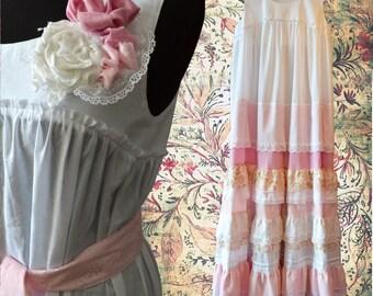 Rose long dress, Boho dress, White and rose, Maxi dress, Lace Bohemian dress, Summer romantic dress with brooch, Gypsy dress, Boho clothes