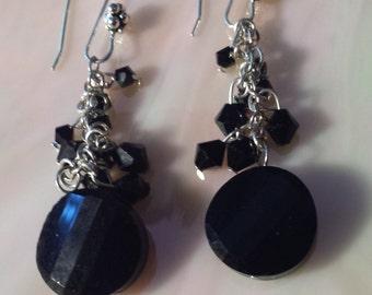 Black Chain Glass Dangle Earrings