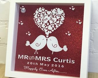 Personalised Love Birds & Hearts Wedding Shadow Frame