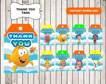 Bubble Guppies Thank you Tags instant download , Bubble Guppies Thank you Tags, Printable Bubble Guppies tags