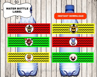 Five Nights at Freddys water labels instant download , Five Nights at Freddy's water bottle labels, Printable FNaF party water labels