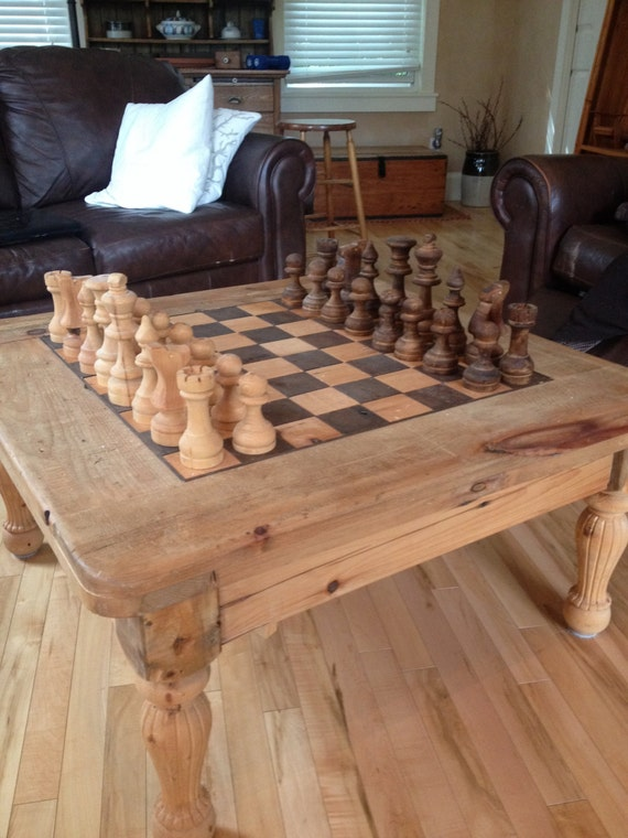 Items similar to Coffee table Chess board on Etsy