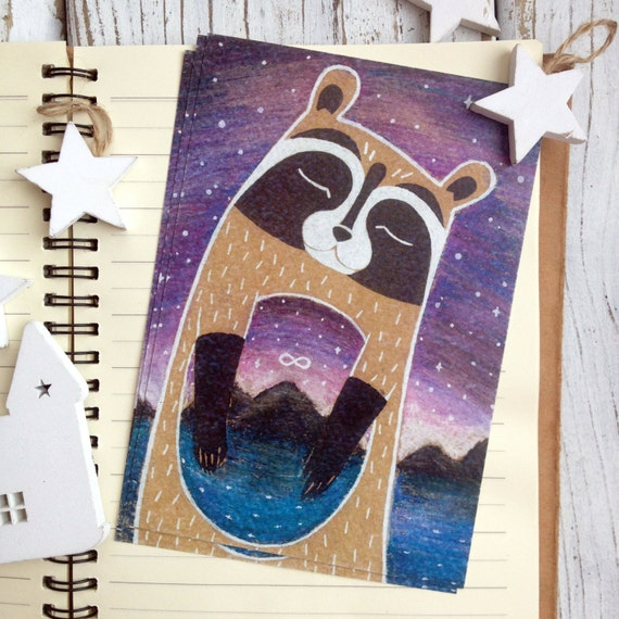 Postcard Prints - Cosmic Raccoon