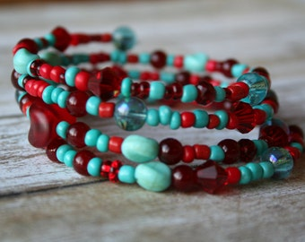 Turquoise Beaded Memory Wire Bracelet, Red Beaded Bracelet, Turquoise Beaded Bracelet, Beaded Wrap Bracelet, Czech Glass Bracelet, Boho