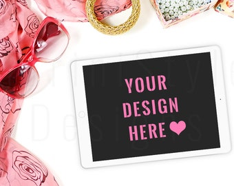 iPad Mockup, Styled iPad Mock up, Tablet Mockup, Feminine Styled Stock Photography, Stock image, Stock Photo, Pink & Gold Styled Desktop, 9