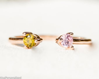 Dual Birthstone Ring - Rose Gold Ring - Couples Ring - Personalized Ring - His and Hers Promise Ring