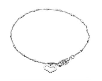 Silver anklet, with heart charm. JUARA Anklet-Handmade