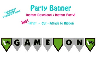 Printable Video Game Birthday Party Banner  Video Game Party Banner