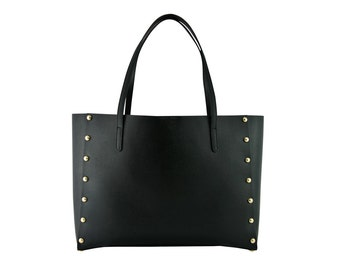 Large saffiano leather studded tote - smaller bag inside
