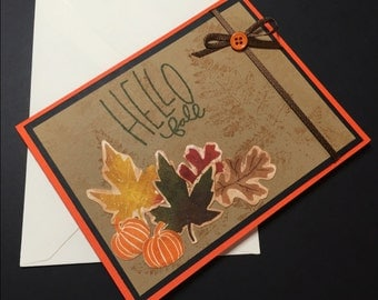 Autumn Card - FALL SPECIAL, Handmade Autumn Card, Hello Fall Card, Fancy Handmade Card