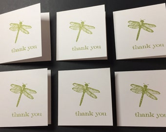 Thank You Card Set - 6 Cards, Dragonfly Thank You Card, Handmade Card Set,  Nature Cards, Simple, Minimalist Cards