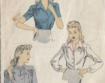 1942 Vintage Sewing Pattern BLOUSE B34 (R666) By Du Barry 5431