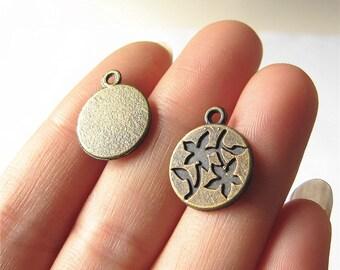 Flower Charm Pendant Antique Brass Drop Handmade Jewelry Finding 14x16mm 5 pcs