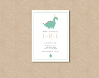 dinosaur birthday invitation / birthday invite / dino / party animal