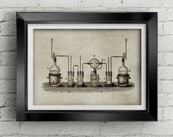 Chemestry Illustration 014 - Science picture - ancient laboratory glass - old chemestry - vintage drawing