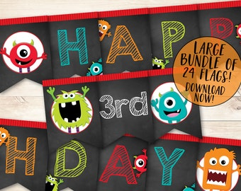 Monster Birthday Banner, Monster Happy Birthday Banner, Monster Party Banner, Monster Bash Party, Monster Birthday Party, Printable banner