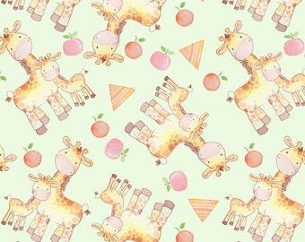 Giraffes Flannel Fabric by the yard/mint/zoo fabric/safari fabric/david textiles/baby fabric/choose your cut