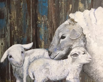 Little Lambs, Acrylic Painting, 20 x 20 inches