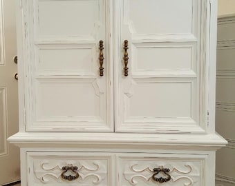 Armoire distressed shabby chic cottage tall dresser wardrobe dressers beautiful vintage armoire