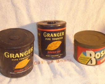 Three Vintage Coffee and Pipe Tobacco Cans