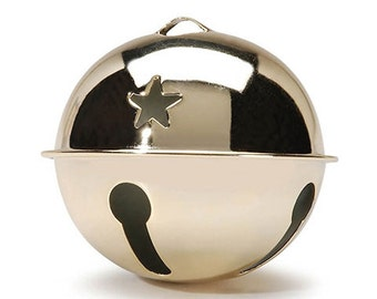 1 Gold Jingle Bell, 70mm (2.75 Inches), with Star Cutouts