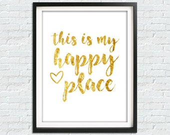 Printable Art, Happy Home Print, This Is My Happy Place Poster, Welcome Print, Quote Wall Art, Guest Room Decor, Instant Download, Art Print