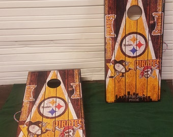 Pittsburgh Penguins, Pirates, Steelers city Custom Built Cornhole Boards Bag Toss with FREE bags FREE Storage Case, Rustic Triangle Design