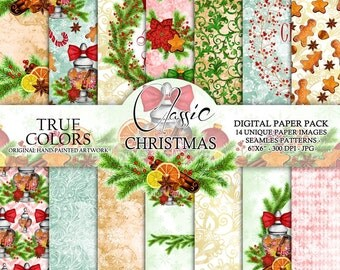 """Christmas Digital Paper Pack Watercolor Hand-Painted Printable Red Green Blue Brown Gingerbread Cookie Wreath Cranberry Candy Cane Jar 6x6"""""""