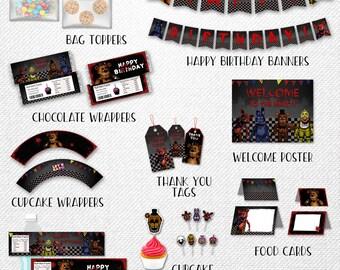 Five Nights at Freddy's bundle, Five Nights at Freddy's party pack, FNAF party pack, party bundle, party supplies!