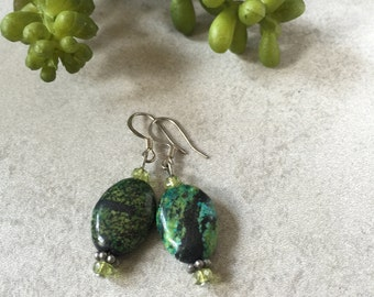Turquoise Peridot Earrings